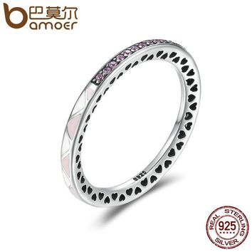 BAMOER New Arrival 925 Sterling Silver Puzzle Romance Radiant Heart Finger Rings for Women Wedding Engagement Jewelry SCR110