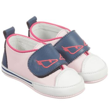 Fendi Baby Girls Pink Soft Leather 'Monster' Shoes