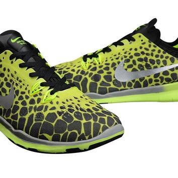 Women's Nike Free TR FIT 5 Print Knit Limited Training Shoes Black/Flurorescent Green