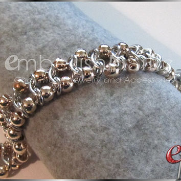 Ladder Weave Chainmaille Choker for men or women! Silver Rings with Rose Gold or Silver colored beads offers a sleek and unique statement!
