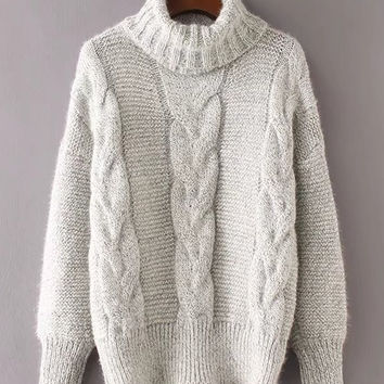 Cable Knit Turtleneck Sweater -SheIn(Sheinside)