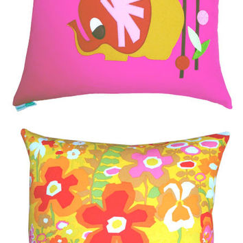 Double Sided Elephant Applique Floral Throw Pillow