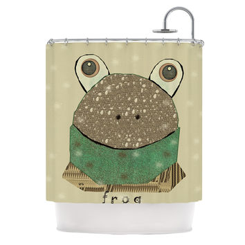 "Bri Buckley ""Frog"" Tan Green Shower Curtain"