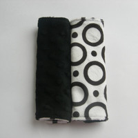 Black & White Circles Double Minky Reversible Car Seat Strap Covers