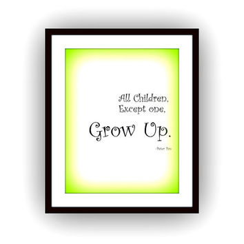 Never Grow Up, Peter Pan Quotes, Printable Wall Art, Kids home decor, Children room decal, Nursery Quote decals, Walt Disney Movie print