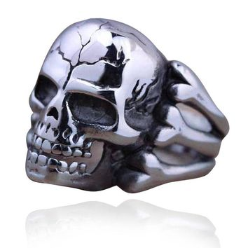 Punk Skull Rings For Men Antique Silver Steampunk Skeleton Male Ring Finger Accessory Fashion Party Jewelry Anillos