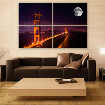 Golden Gate Bridge Canvas Photo 4 Panels Print Wall Decor Fine Art Cityscape Photography Repro Print for Home and Office Wall Decoration