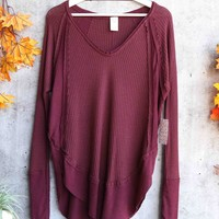 Free People - Catalina long-sleeve thermal top - Plumberry Heather