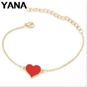 YANA Jewelry Sale Good Quality 3 Colors Heart Bracelet For Woman 2015 New bracelets & bangles factory Price  HOT B64