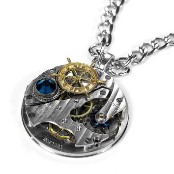 Steampunk Necklace Vintage Jeweled Pocket Watch by edmdesigns