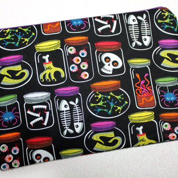 Spooky Science Lab Bag - Haunted bag - Skulls - cosmetic bag - makeup bag - small bag - pencil case