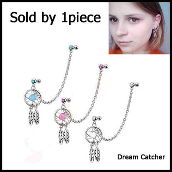1Pcs 16g Mix Color Dream Catcher Ear Tragus Cartilage Earring With Double CZ Stud Dangle Chain Ear Piercing Body Jewelry