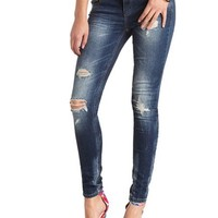 "REFUGE ""SKINNY ROLL UP"" MEDIUM WASH DENIM JEANS"