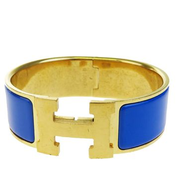Authentic HERMES H Logo Bracelet Bangle Gold-tone Plastic Blue Accessory 34BA522