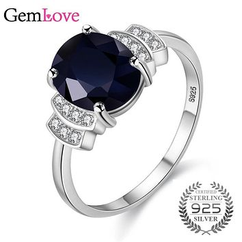 Gemlove Dark Blue 925 Sterling Silver Rings with 2.5ct Natural Spinel Stones Zircon Ring Engagement Rings for Women 10% CJ008
