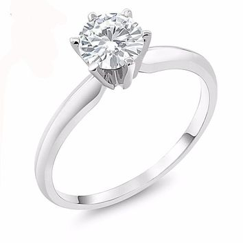 Moissanite 6mm 0.75ct 14K White Gold Engagement Solitaire Ring