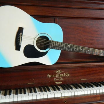 Unique Blue and white flat top Guitar made by Schafer with case