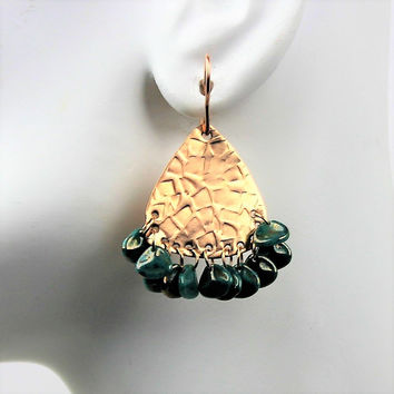 Textured Bronze and Czech Beads Earrings