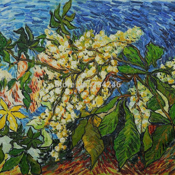 Handmade Van Gogh Oil Reproductions Blossoming Chestnut Branches Floral Oil Painting on Canvas Home Decor