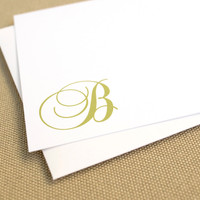 Monogrammed Stationery Set with Script Initial