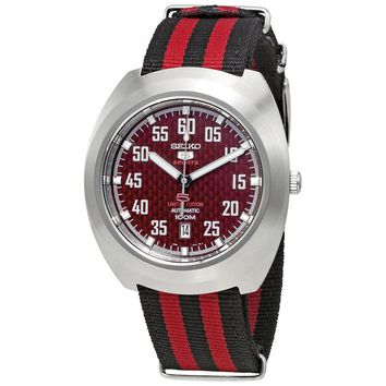 Seiko 5 Sports Black Dial Nylon Mens Watch SRPA87K1