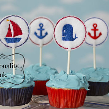 Nautical Theme Cupcake Toppers - Sailboat - Whale - Anchor - Birthday Party - Boys - Girls
