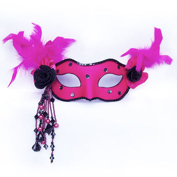 Venetian Style Masquerade Mask - Fabric Covered And Beaded With Feathers- Neon Pink / Fuschia/Black