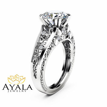 Filigree Design Moissanite Engagement Ring Unique 2 Carat Moissanite Ring Solid 14K White Gold Ring Art  Deco Engagement Ring