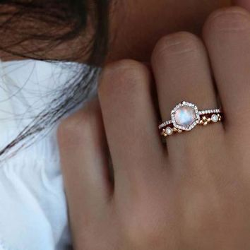 US SIZE 6 7 rose gold silver color clear cubic zirconia gorgeous stack engagement wedding set hexagon stone ring