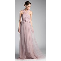 Tulle Infinity Style Long Bridesmaid Dress Dusty Rose