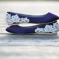 Wedding Shoes - Purple Wedding Shoes/Purple Wedding Flats with Ivory Lace. US Size 9.