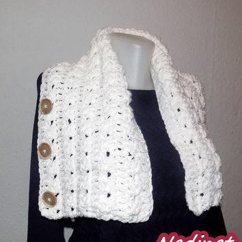 Valentine's day gift, Crochet Scarf, 3 Button scarf, Wrap cowl, Shoulder Warp, FREE shipping