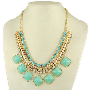 mint teal jcrew Statement Necklace turquoise crytals Bib Bubble Necklace Rhinestone Necklace Cluster Necklace Bubble necklace -EU1