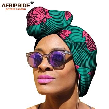 fashional african style 50cm*150cm head wrap for women ankara print 100% high quality batik cotton women head wrap A18H005