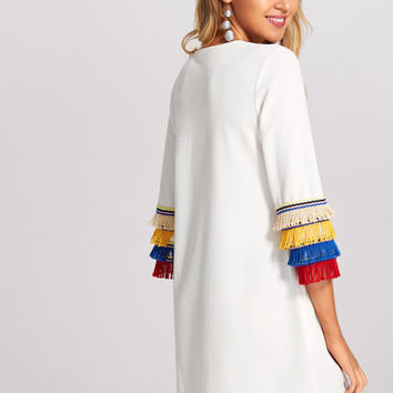 Layered Fringe Embellished Textured Dress -SheIn(Sheinside)