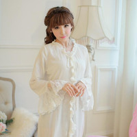 Free Shipping Vintage Royal 100% Cotton Crepe Nightgowns Women's Long Pijamas Beige Sleepwear pijama feminino