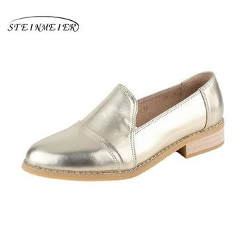 Women genuine leather casual designer vintage flat shoes round toe handmade gold silver oxford shoes for women