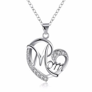 Top qualitly Love Mom Gift Great Mama Heart Pendant Necklace Silver Plated Jewelry mother day gift ideas For Mother MUM Letters