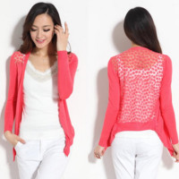 Sweet Candy Color Crochet Knit Blouse