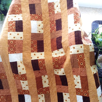 "Sunflower Farm - Golds/Rust//Brown/Yellows w/Sunflowers Lap Quilt - 51.5"" x 73"" - SALE  -Ready to Ship)"