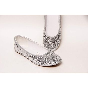 Sterling Silver Starlight Sequin Ballet Flats