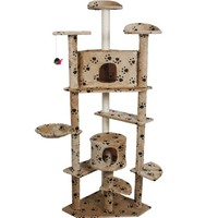 """Pingkay Deluxe 80"""" Cat Tree Condo Furniture Scratch Post Pet House Brown Color"""