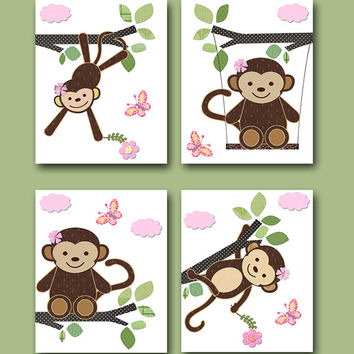 Kids Room Decor Monkey Nursery Print Baby Girl Nursery Art Print Children Wall Art Baby Room Decor Kids Print set of 4 8 x10 Rose Pink green