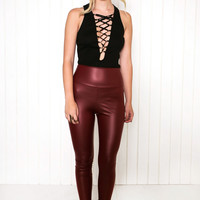 Jake High-Waisted Leather Leggings - Maroon