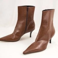 Marcello Paci Shoes High Heel Leather Ankle Boots 9.5M Brown Made in Brazil Croc
