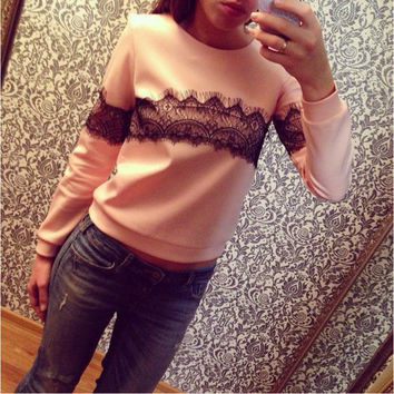 Long Sleeve Lace Panel Sweater