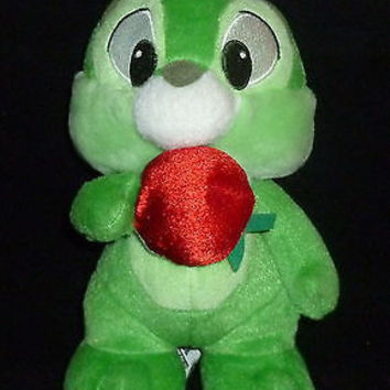 Disney Green Chip & Dale Chipmunk With Apple Plush Animal Sega Toy Prize
