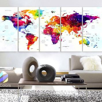 "Xlarge 30""x 70"" 5 Panels 30x14 Ea Art Canvas Print World Map Original Watercolor Push Pin Travel cities Wall Home Office decor (framed 1.5"" depth)"