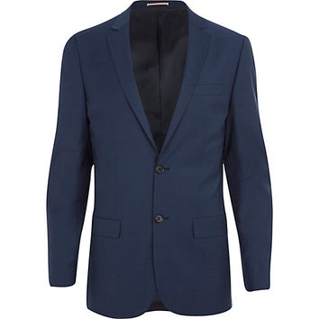River Island MensBlue wool-blend skinny suit jacket
