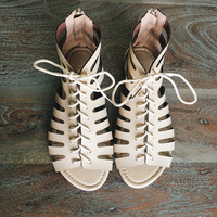A Gladiator Lace Up Sandal in Beige